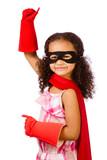 Fototapety Portrait of pretty mixed race girl playing super hero