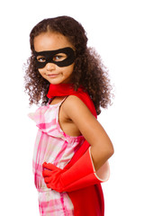 Portrait of pretty mixed race girl playing super hero
