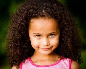 Outdoor portrait of mixed race girl