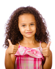 Mixed race child giving thumbs up