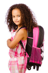 Mixed race girl wearing backpack