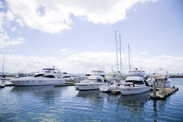 Sailing boats moored in Nelson Bay Harbour,Australia