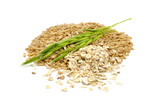 Whole Oats, Oat Flakes and Ear of Oats Isolated on White
