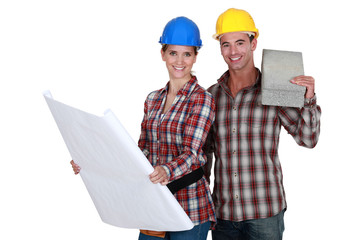 Builders with flat concrete block