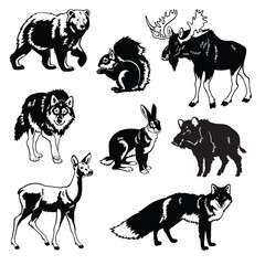 set of forest animals black and white