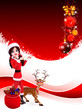 santa girl with reindeer and gift bag on red background