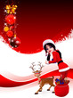 santa girl dancing with reindeer on red background