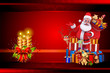 santa claus pointing towards white cards isolated on red