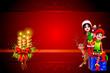 santa elves and reindeer sitting on a big gift