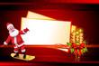 santa claus with big cards on skating wheels