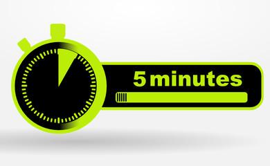 icône 5 minutes sur chronomêtre vert et noir
