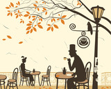 Fototapety Autumn cafes and romantic relationship between man and woman