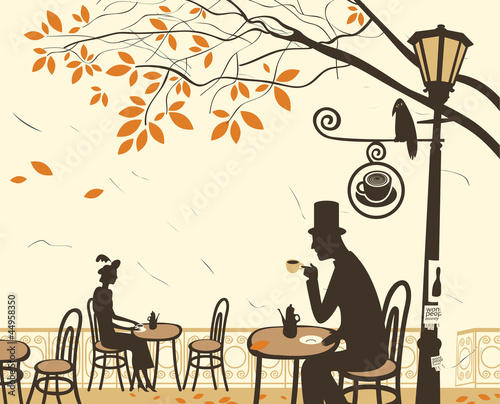 Sticker Autumn cafes and romantic relationship between man and woman