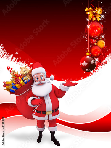 santa with gift bag on red background with balls