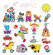 set of simple cute pictures with toys