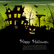 Scary house - Halloween background with place for text