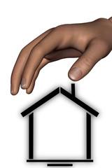 human hand protect home