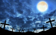 cross silhouette and the sky with full moon