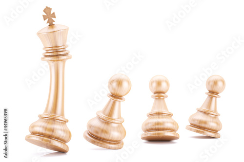 Wood pawns protecting their leader