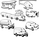 Funny vehicles in outline. Cartoon and vector isolated objects