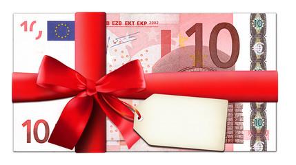 10 Euro mit roter Schleife und Etikett