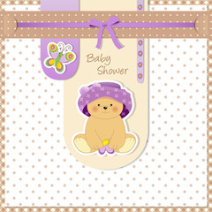 baby shower - stripes with butterfly and bear