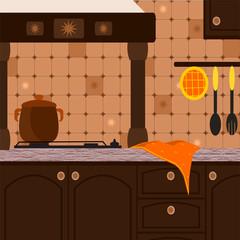 cucina rustica color noce scuro