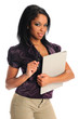 African American Businesswoman Holding Folder