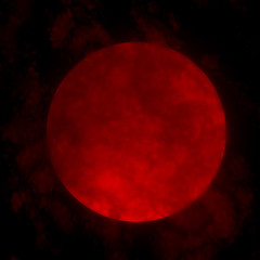 Red full moon and clouds 3d