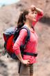 Frau macht Wanderpause