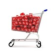 3d shopping cart with discount cubes side view