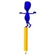 3d puppet balance on big yellow pencil