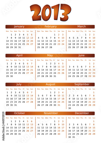 simple editable vector calendar 2013