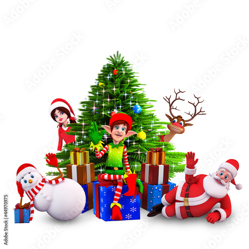 elves sitting before christmas tree