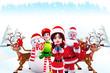 santa girl standing with all christmas group