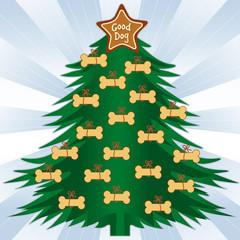 Good Dog Christmas Tree, star ornament, dog bone  treats