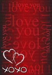 xoxo hearts red love card illustration design