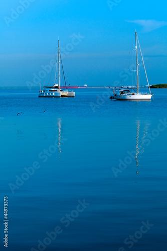 Yacht in Caribbean sea, Cuba