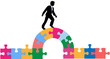 Business person puzzle bridge to solution