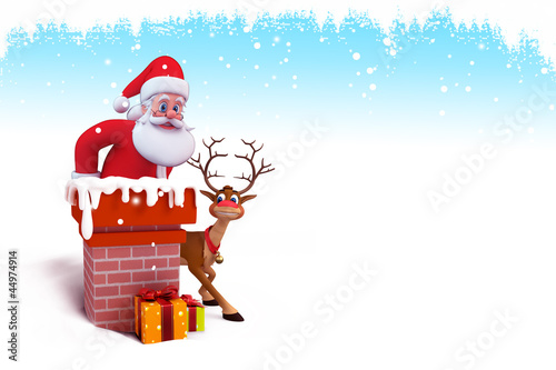 santa is coming out of chimney