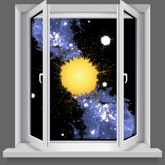 Opened plastic window. With views of the cosmos