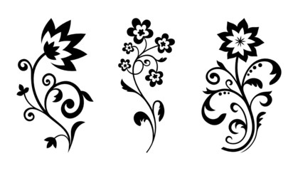 Silhouettes of abstract flowers. Vector floral design elements