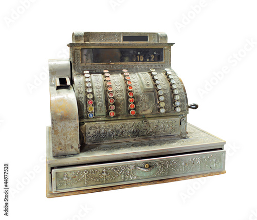 Antique crank-operated cash register