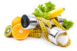 fitness equipment and fruits