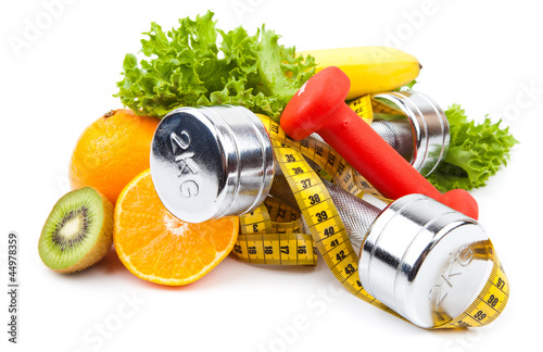 Poster, Tablou fitness equipment and fruits