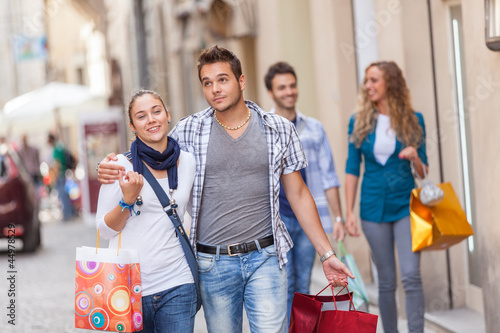 Group of Friends with Shopping Bags