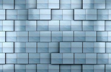 fondo 3d de pared de baldosas en tono azul