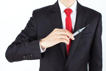 Man holding needle