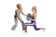 Athlete woman exercising with personal fitness trainer on a whit