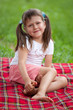 Little smiling cute girl preschooler sitting on plaid and grass